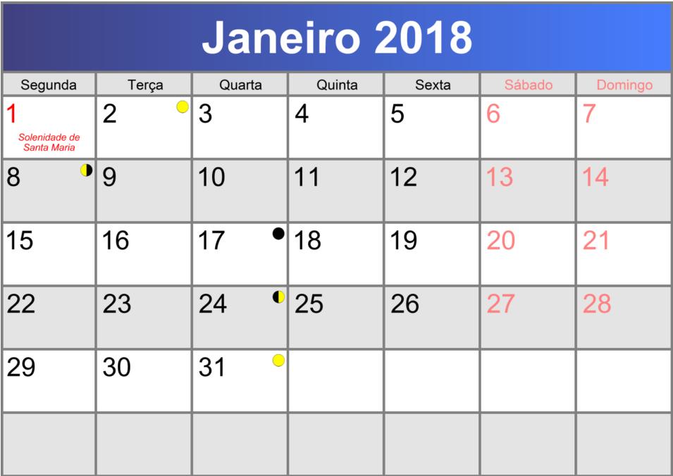 Calendário Fiscal Janeiro 2018 Transcrita